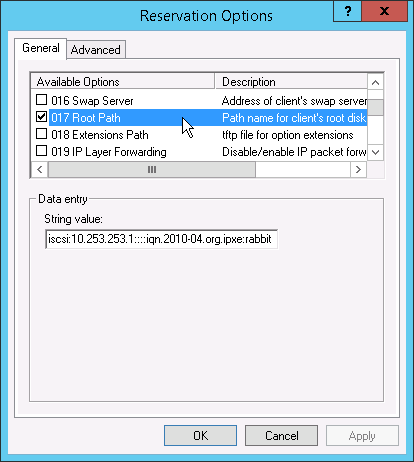 Configuring the iSCSI root path