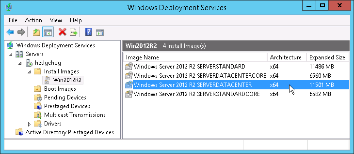 Windows Deployment Services console