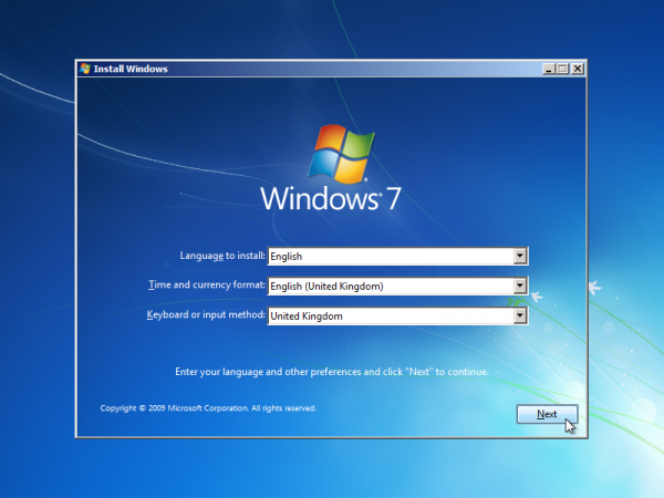 Windows 7 installer booted via wimboot