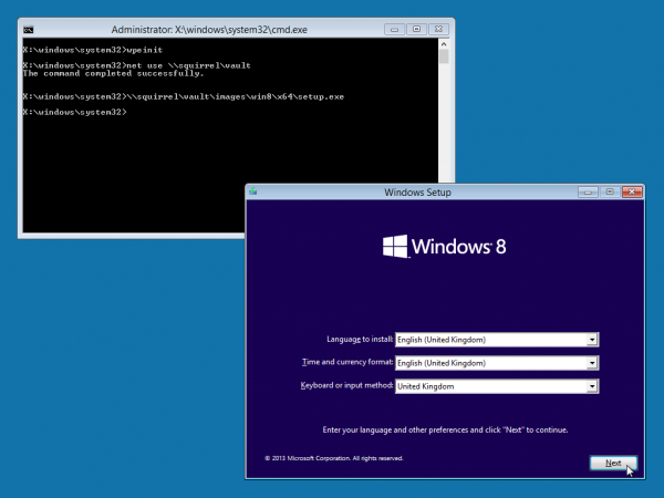 Windows PE running Windows 8 installer