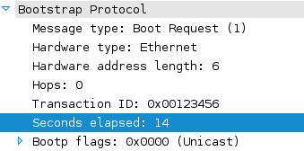 "DHCP packet showing ""Seconds elapsed: 14"""